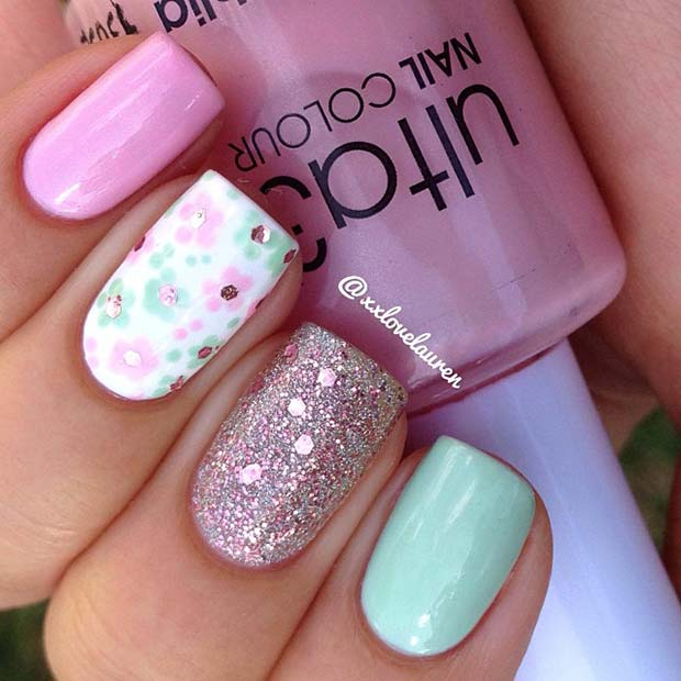 Sparkly-Flower-Nails