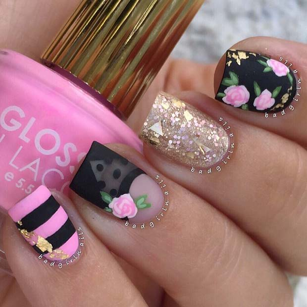 Stylish-Pink-and-Black-Nail-Idea