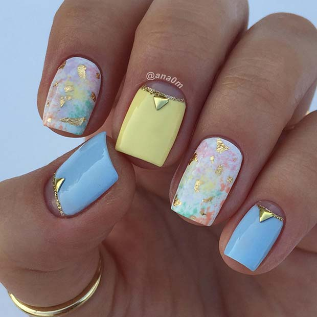 Yellow-Blue-and-Gold-Nails